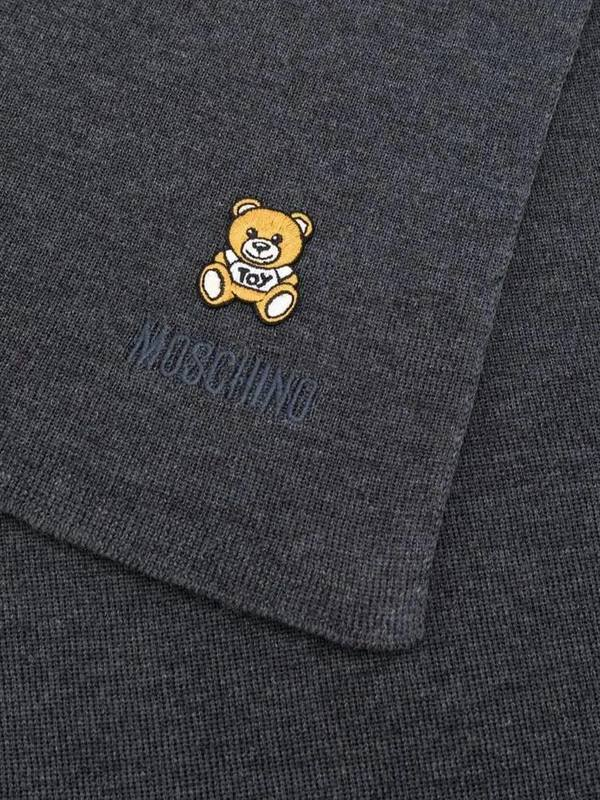 Moschino Teddy Bear Embroidered Scarf