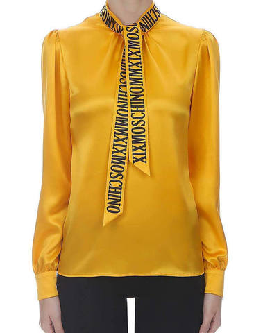 Moschino Roman Logo Silk Blouse