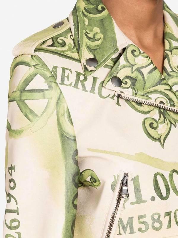 Moschino Watercolor Money Nappa Leather Biker Jacket