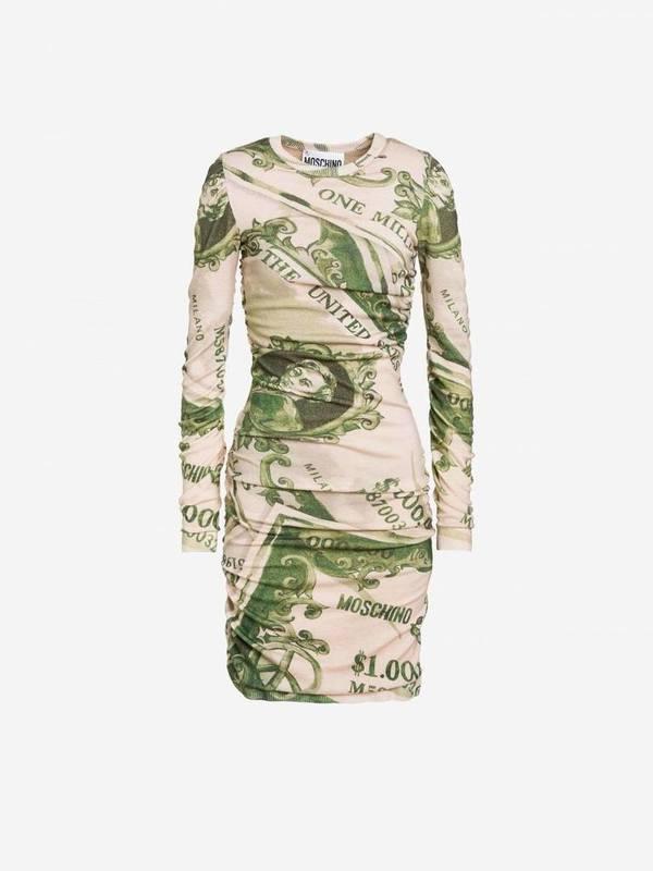 Moschino Watercolor Money Wool Dress