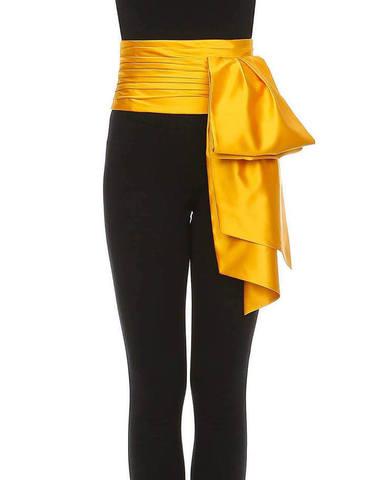 Moschino Yellow Silk Bow Belt