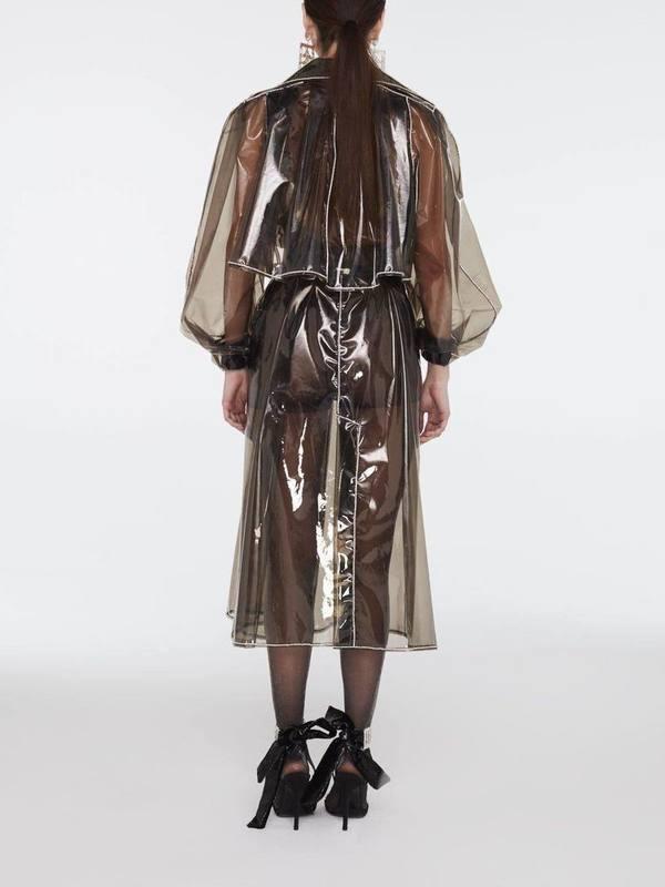 Raisa Vanessa Crystal Belted Beaded Long Raincoat