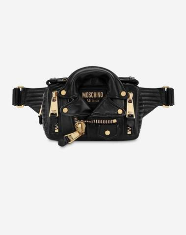 Moschino Biker Belt Bag In Nappa Leather