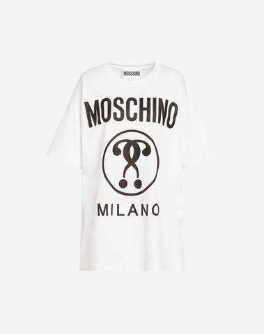 Moschino White T-Shirt Double Question Mark