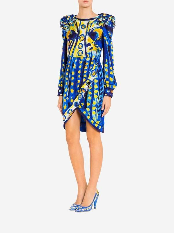 Moschino Silk Georgette Dress Matador