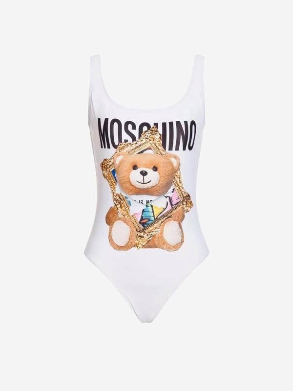 Moschino White One-Piece Swimsuit Frame Teddy Bear