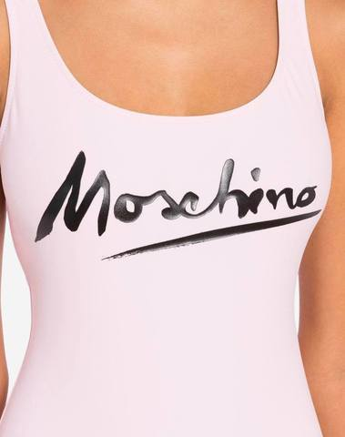 Moschino Pink One-Piece Swimsuit Logo Signature