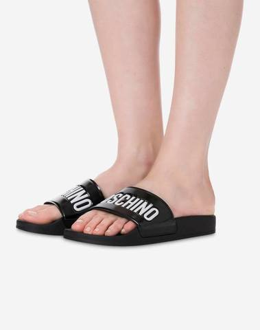 Moschino PVC Slide Sandals With Logo