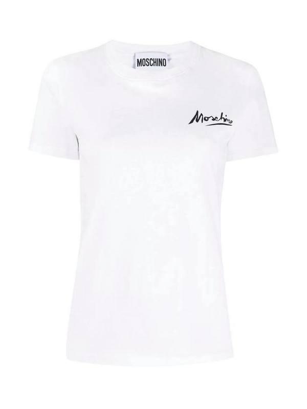 Moschino White Logo Print T-Shirt