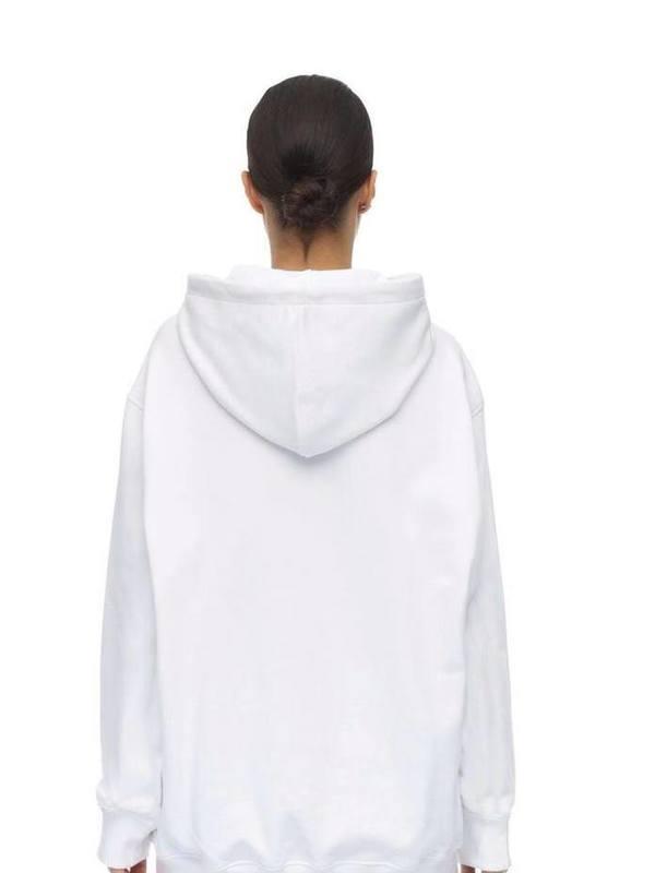 Moschino White Logo Print Jersey Sweatshirt Hoodie
