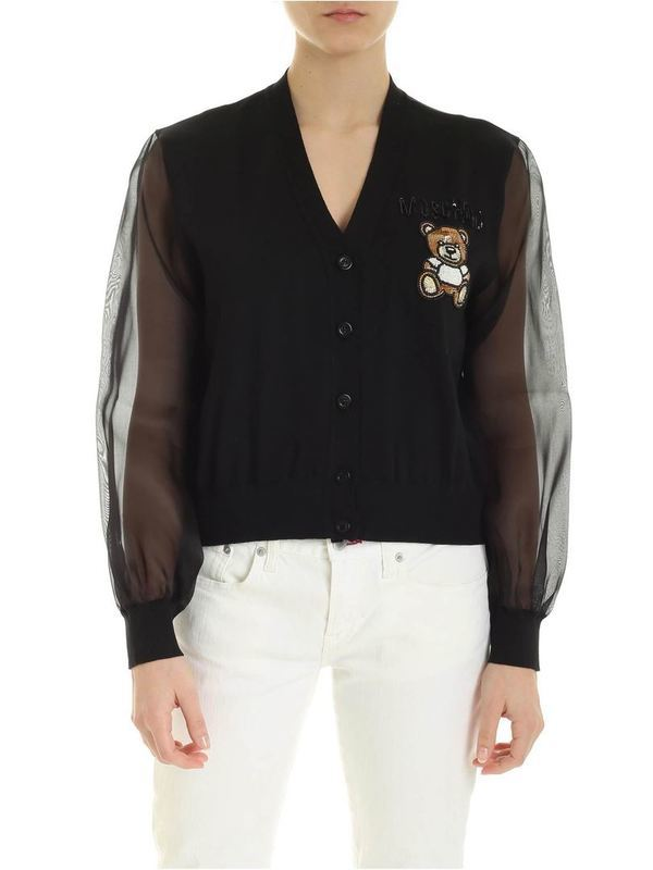 Moschino Black Cotton Cardigan Teddy Embroidery