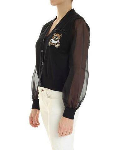 Moschino Black Cotton Cardigan Teddy Embroidery