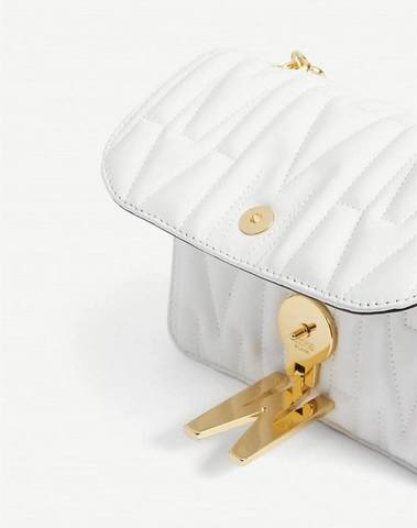 Moschino White Quilted Monogram Shoulder Bag