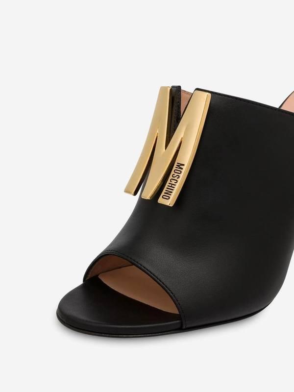 Moschino Black Calfskin High Sandals