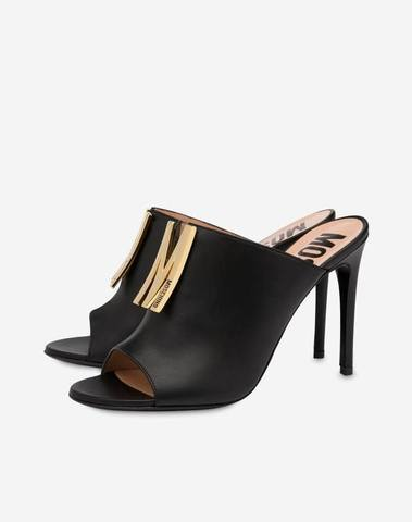 Moschino Black Calfskin High Sandals