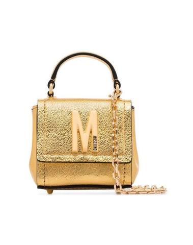 Moschino Logo-Embellished Gold Mini Bag
