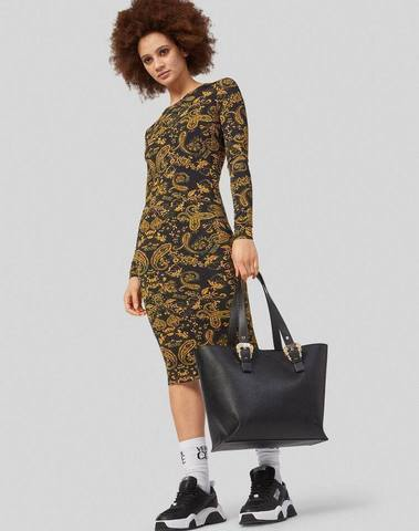 Versace Paisley Loop Print Midi Dress