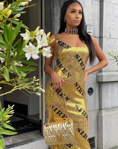 Moschino Hollywood Stencils Sequins Dress