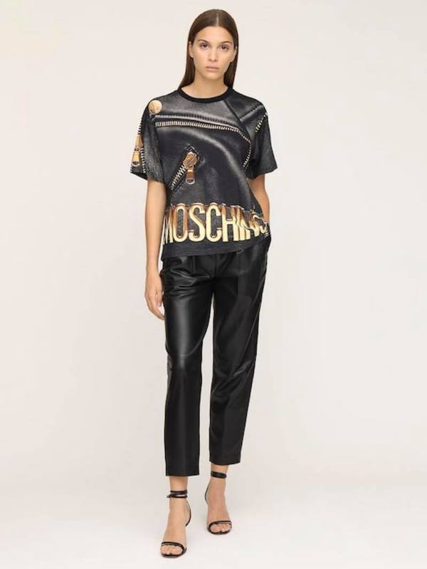 Moschino Printed Cotton Jersey Boxy T-Shirt