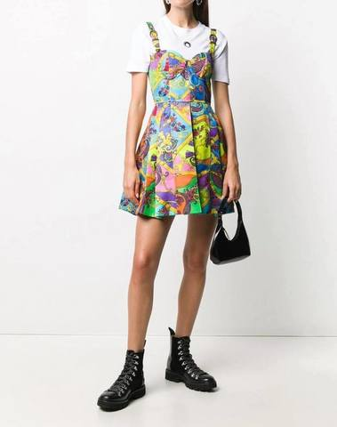 Versace JC Mix-Printed A-Line Mini Dress