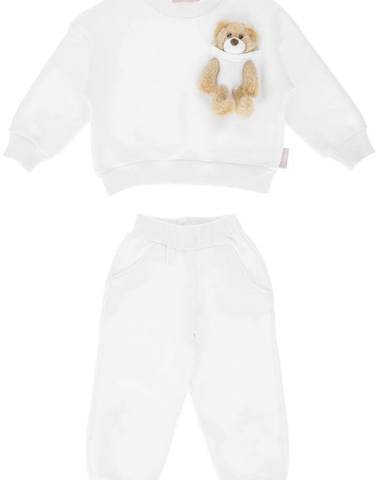 'Kids Of Heart' Tracksuit Set White With Teddy Bear
