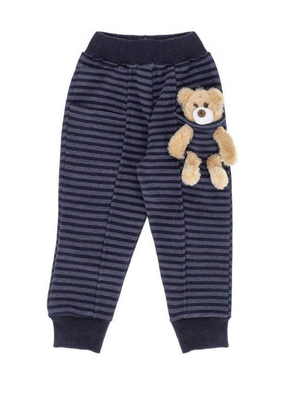 'Kids Of Heart' Tracksuit Set (INDIGO BLUE-STRIPED) With Teddy Bear