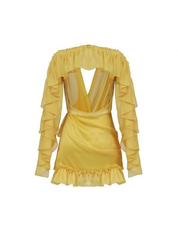Yellow ruffled chiffon mini dress
