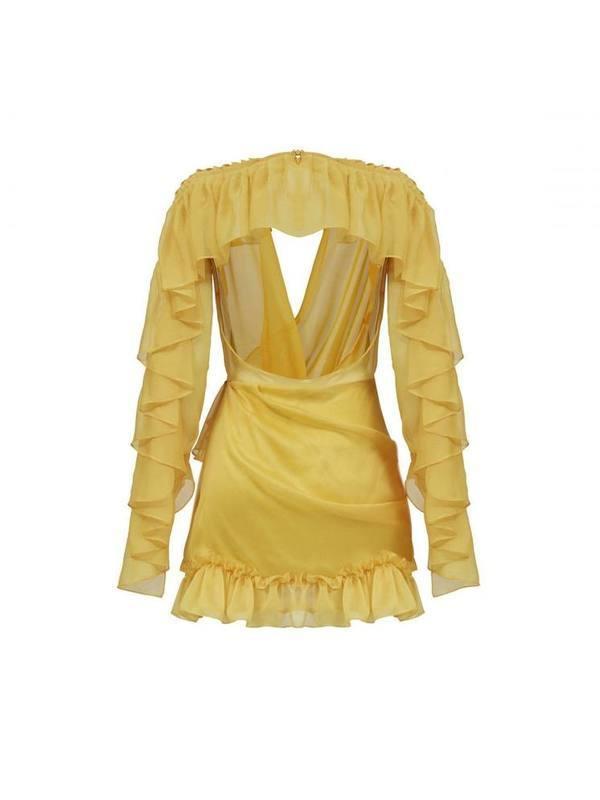 Yellow ruffled chiffon mini dress