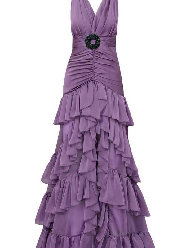 Ruffled chiffon maxi V-neck dress