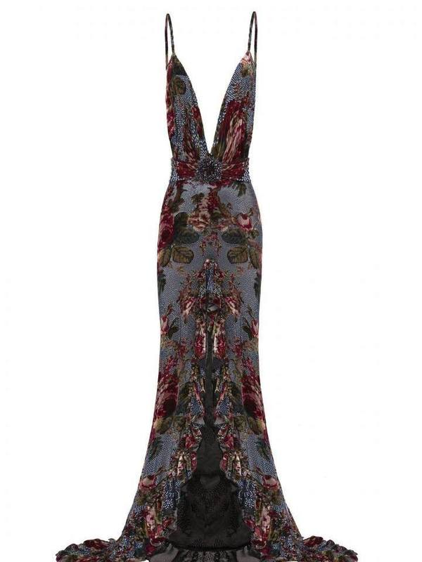 Strass embellished velvet maxi dress