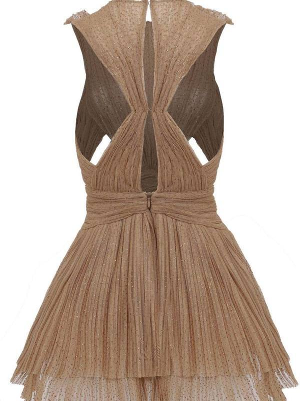 Ruffled pleated belted mini dress
