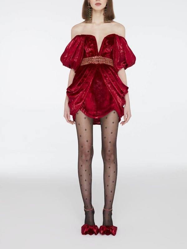 Velvet off-the-shoulder mini dress