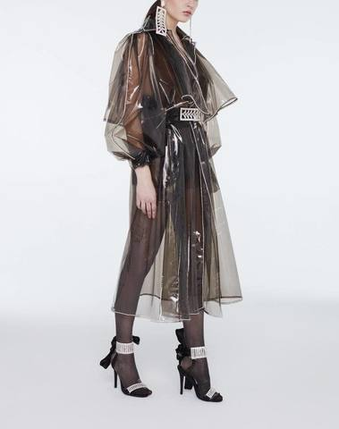 Crystal belted beaded long raincoat