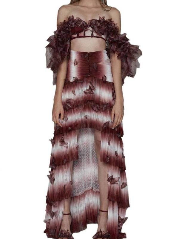 Butterfly applicated ruffled maxi dress