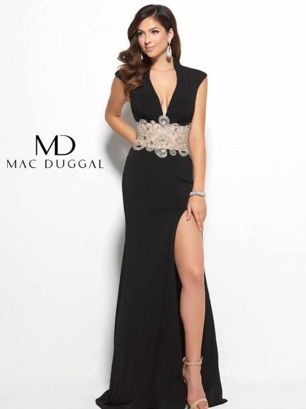 Black maxi dress with embellished belt