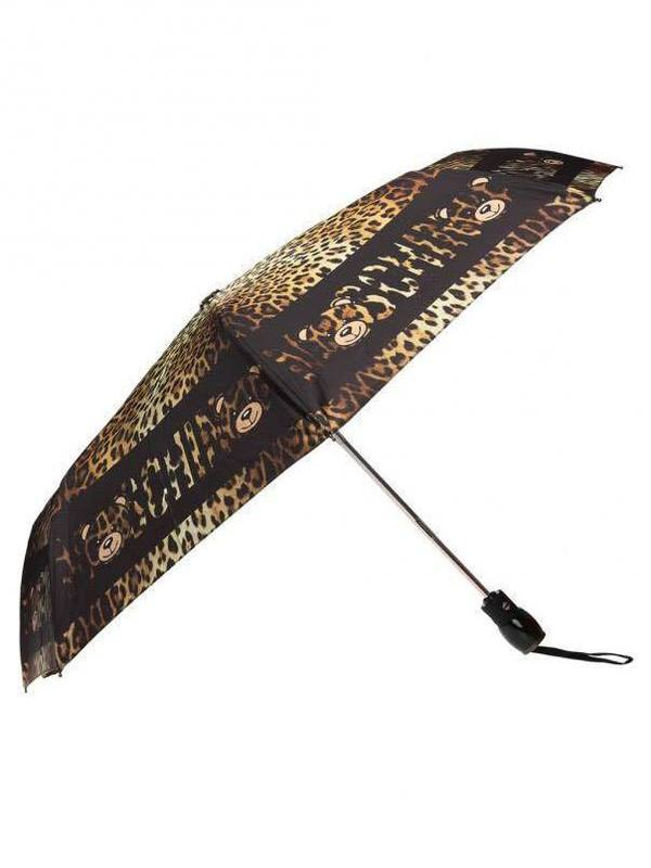 Moschino Brown Leopard Printed Umbrella