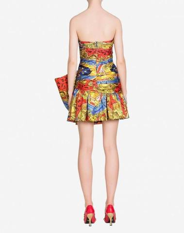 Moschino Roman Scarf Dress With Bow
