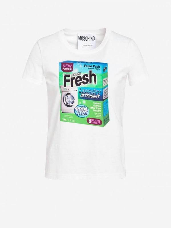 Moschino Jersey T-Shirt with Packaging Print