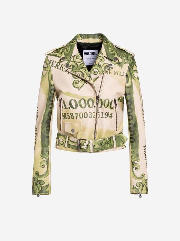 Moschino Watercolor Money Nappa Leather Biker Jacket
