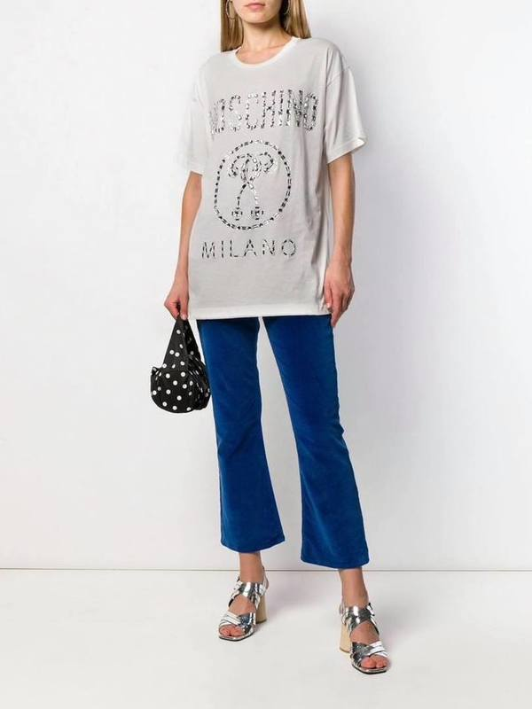 Moschino Crystal Embellkished Logo T-Shirt