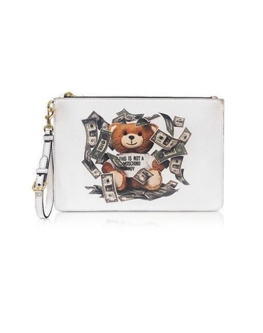 Moschino Dollar Teddy Bear White Clutch