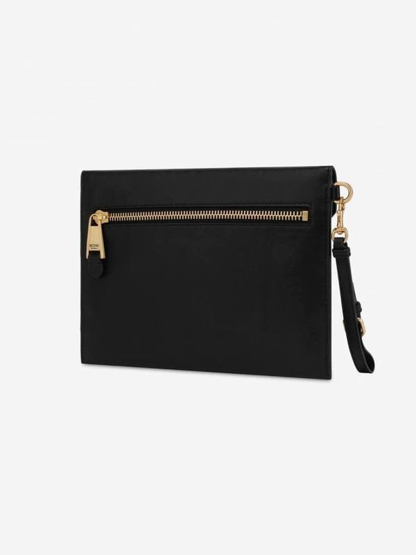 Moschino Calf Leather Clutch With Logo