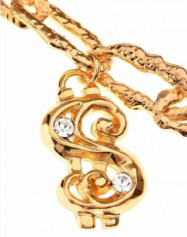 Moschino Dollar Logo Necklace Shiny Gold