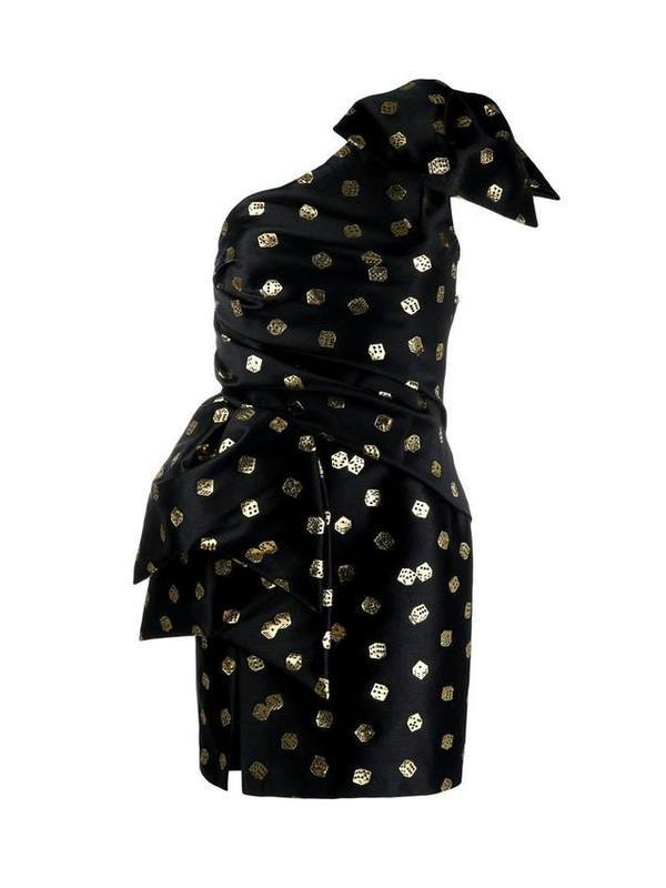 Moschino Dice-Print Asymmetric Dress