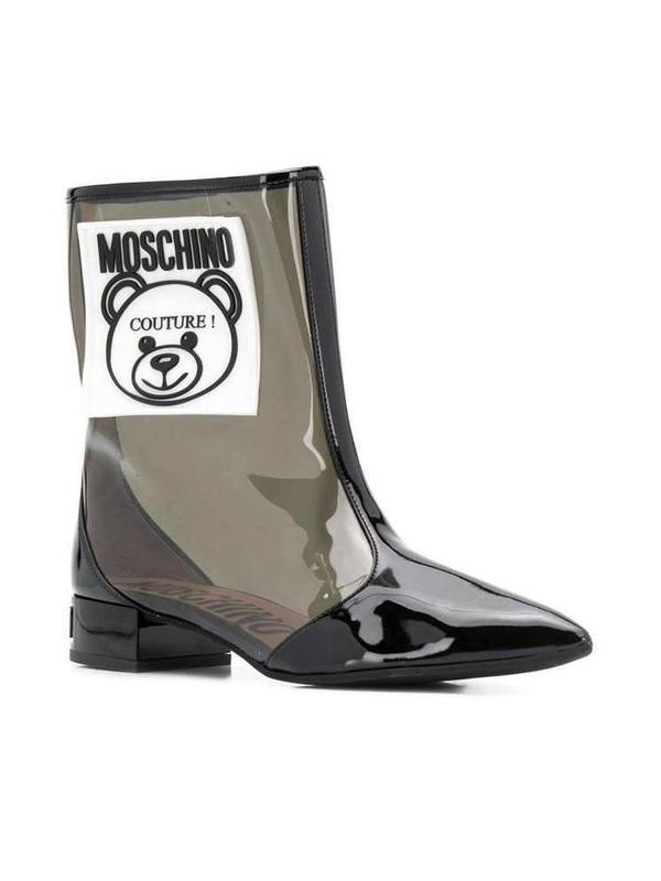 Moschino Teddy Bear Transparent Ankle Boots